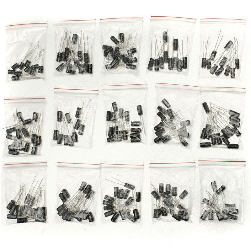 2017 뜨거운 새로운 200 Pcs 15 값 전해 커패시터 키트 (1 미크로포맷 ~ 220 미크로포맷) 커패시터 세트 판매
