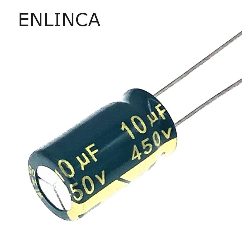 12 개/몫 450v 10 미크로포맷 450v10UF 알루미늄 전해 콘덴서 크기 10*17 20%